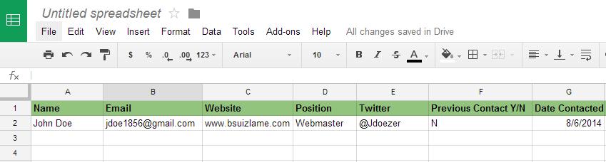 Outreach List Example2
