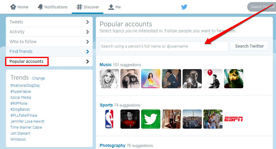 twitter popular accounts with Arrow