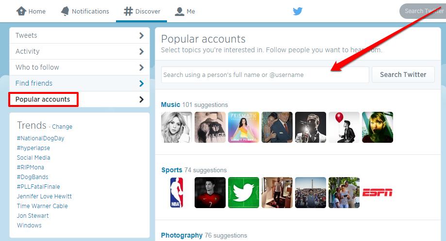 twitter popular accounts with Arrow