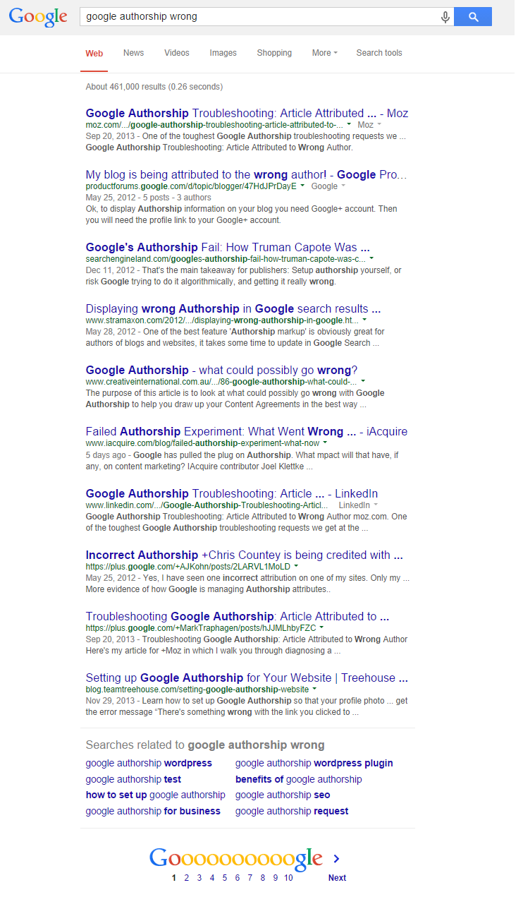 google authorship wrong