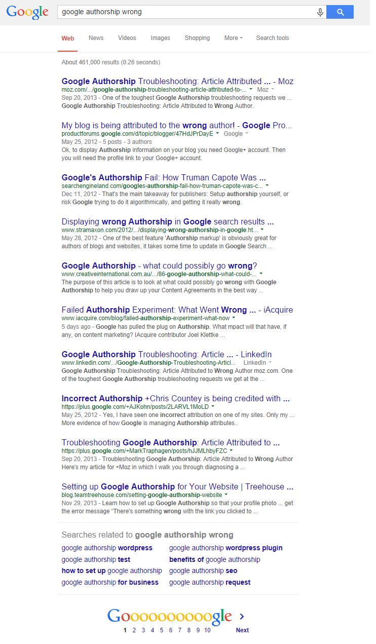 google authorship wrong