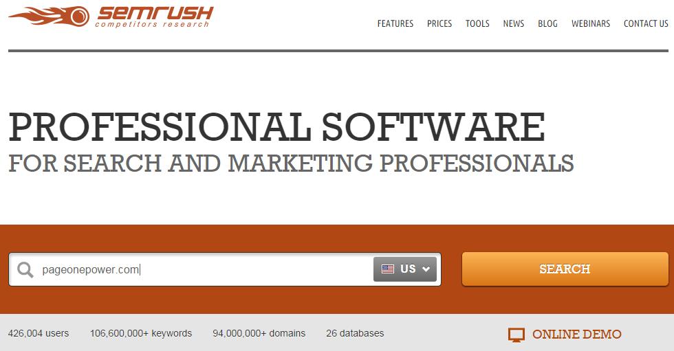 SEMrush Search box