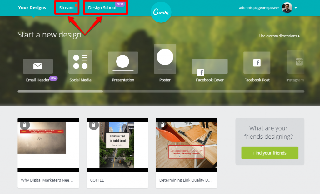 Canva Home Page Other Tabs