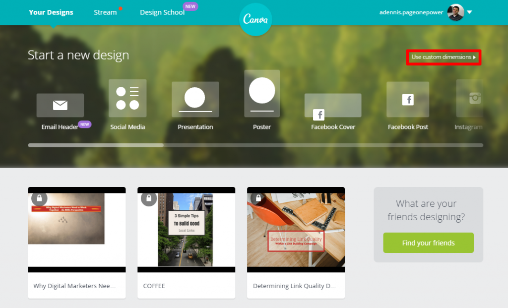 Canva Home Page Custom Dimensions Box