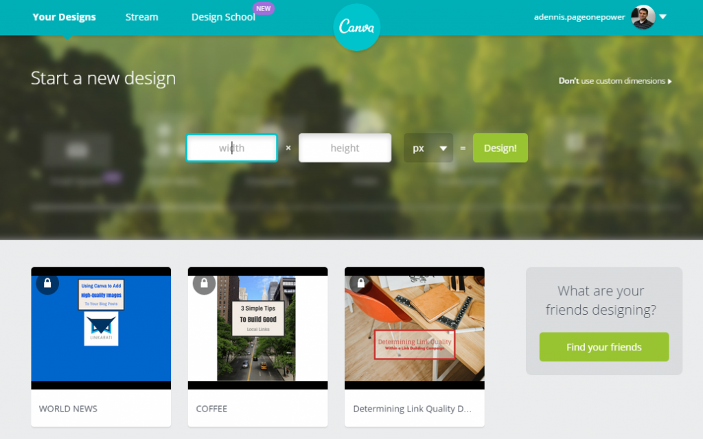 Canva Home Page Custom Dimensions