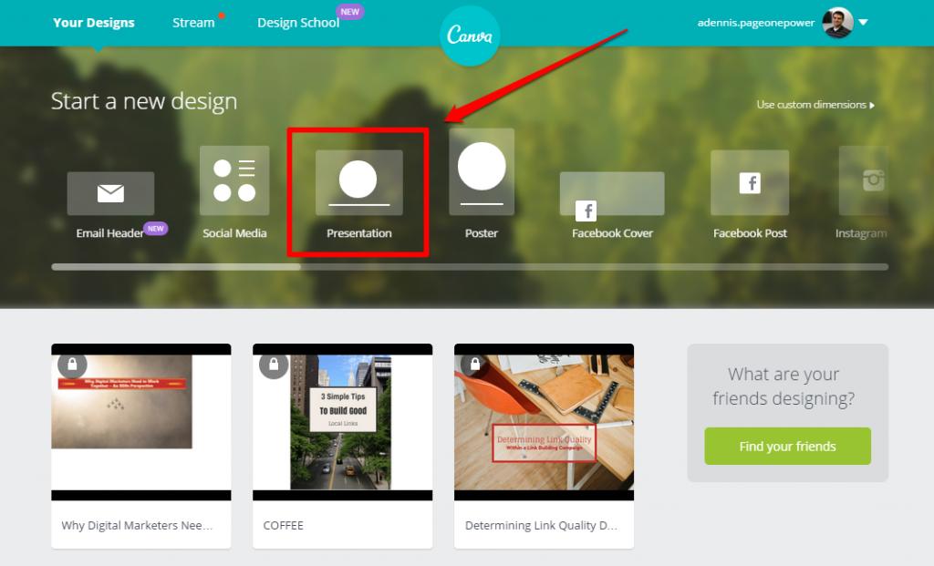 Canva Home Page Presentation