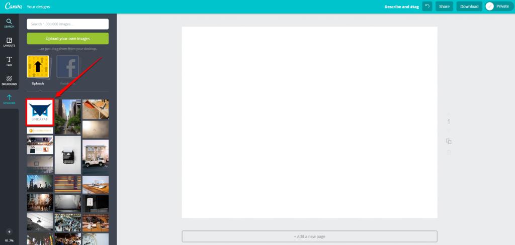 Canva Design Page Upload Blank