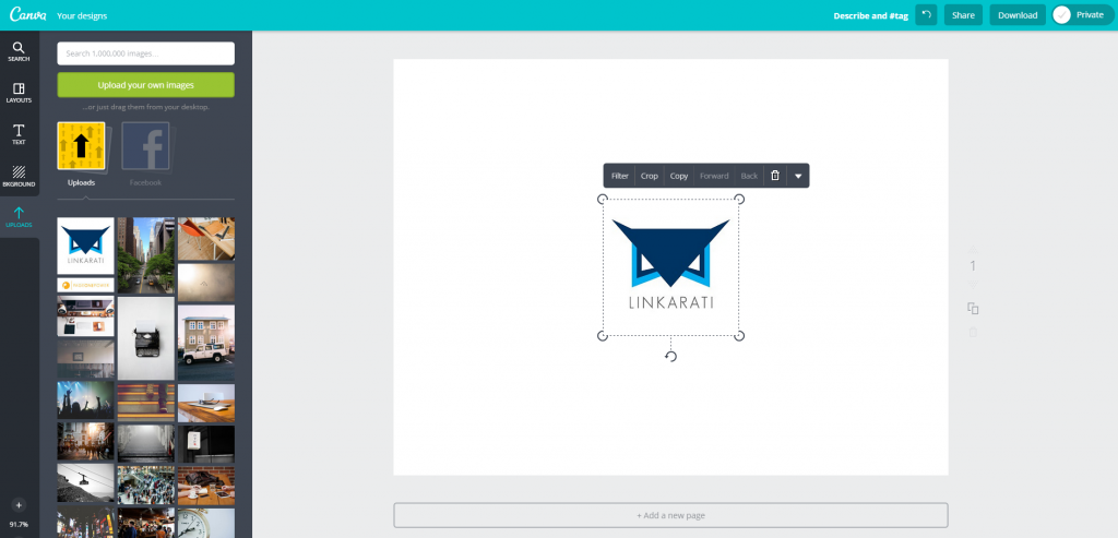 Canva Design Page Upload with Image