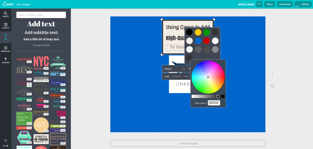 Canva Design Page Text Editing Color Wheel