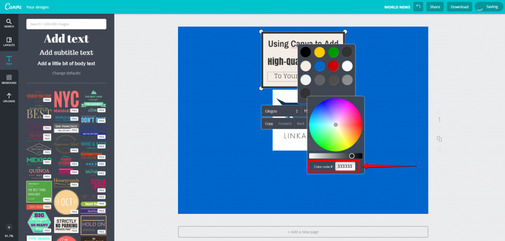 Canva Design Page Text Editing Color Wheel Code Number