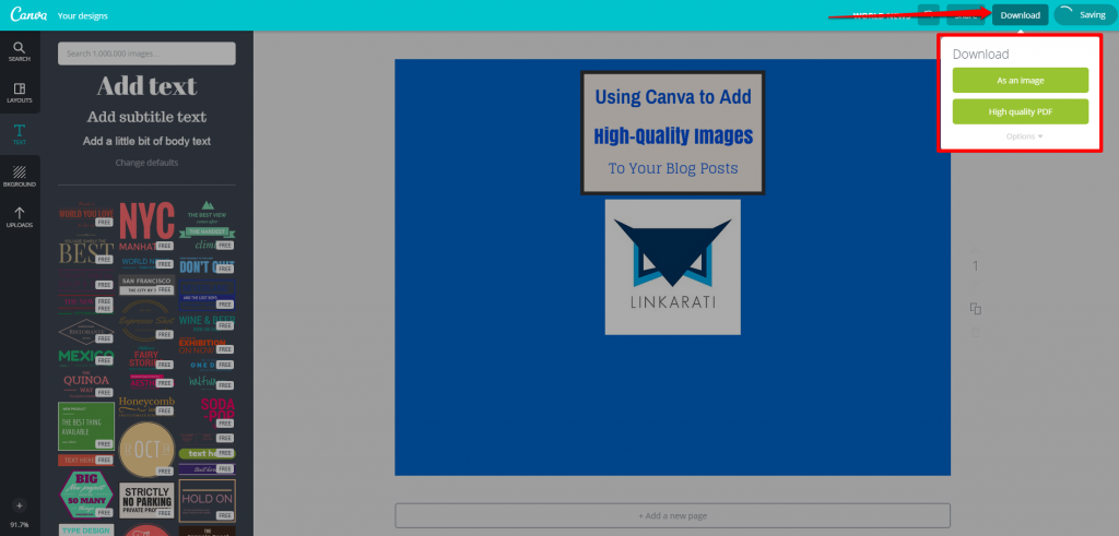 Canva Design Page Download Button with Box