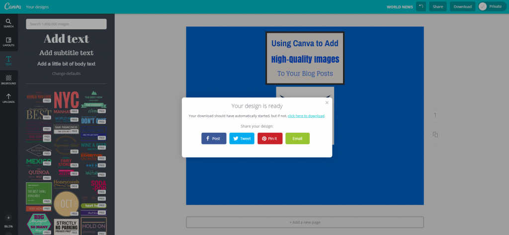 Canva Design Page Social Sharing