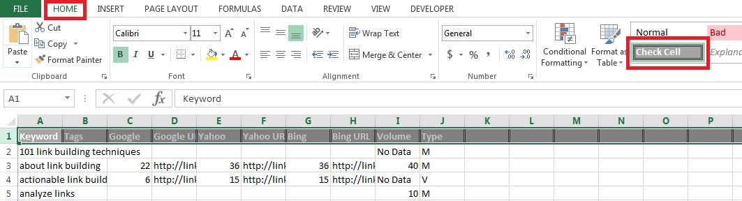 NSC ALA check cell header format highlights