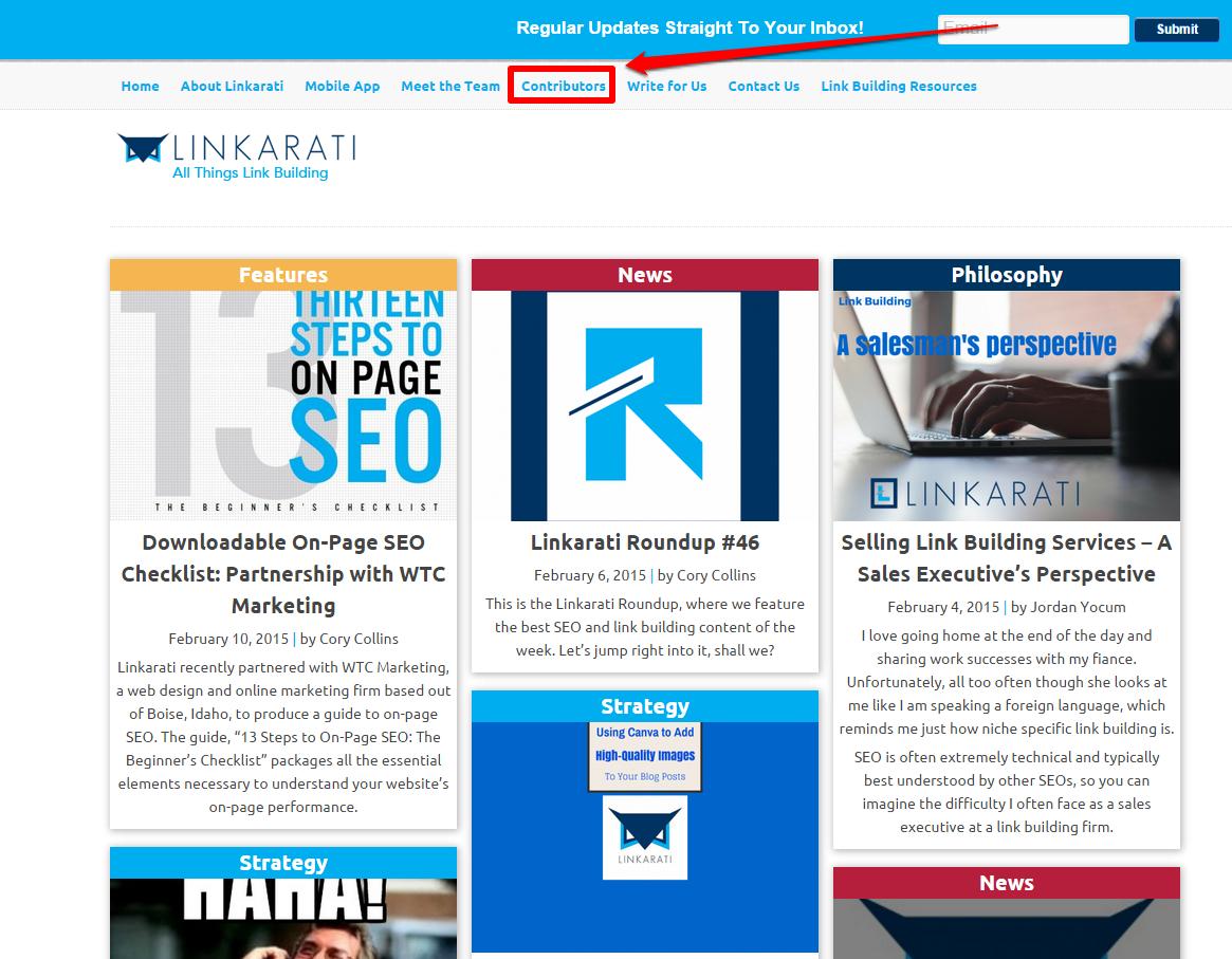 Linkarati homepage