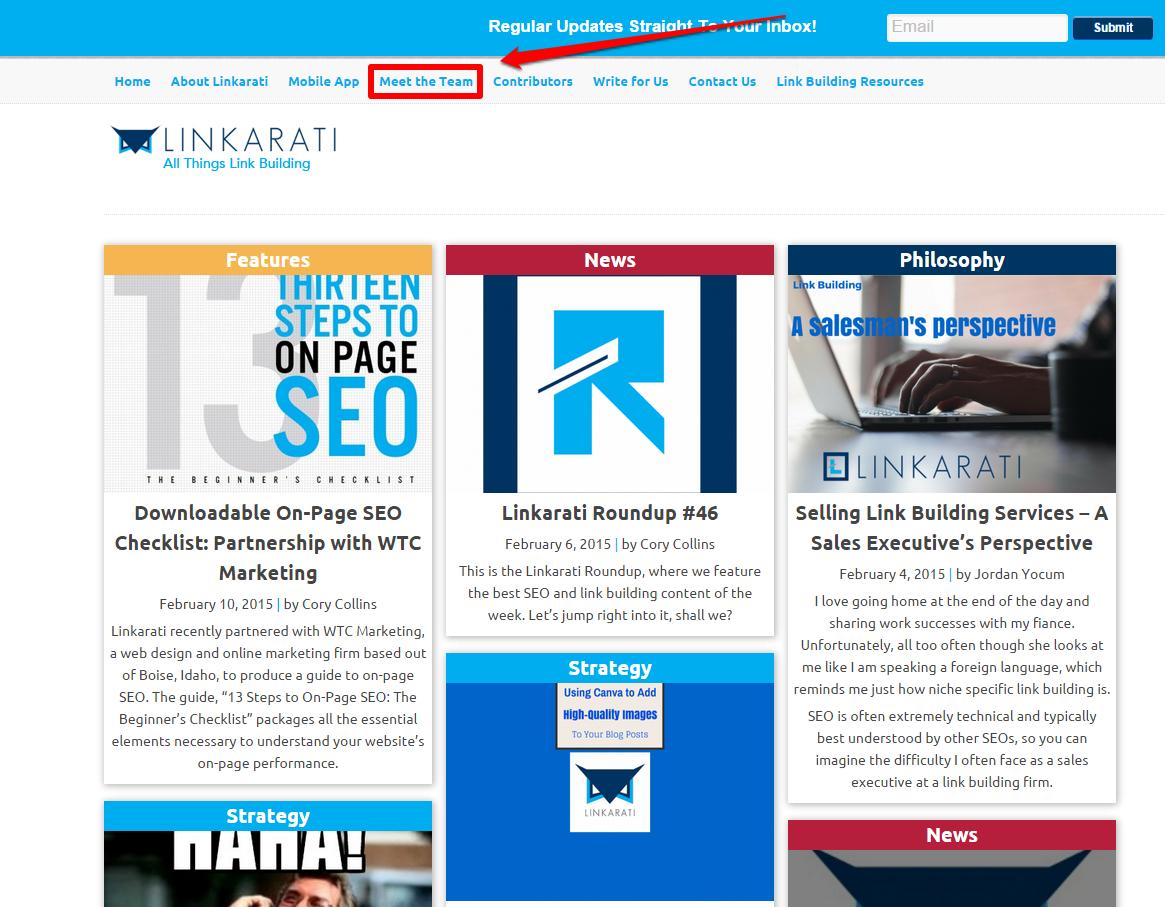 Linkarati homepage 2
