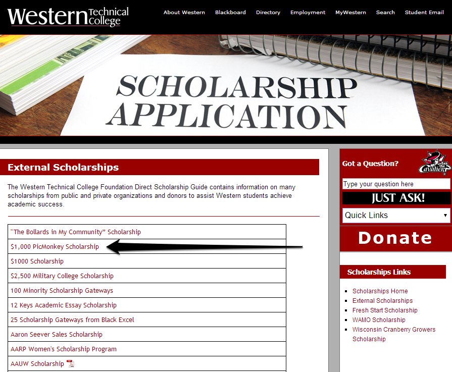 Western Tech Scholarships Image with Arrow
