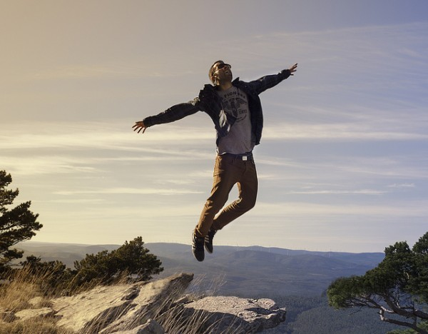 this guy is jumping because he is no longer afraid of link building and therefore he feels free