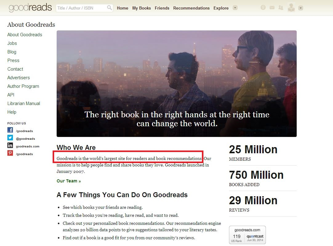 Goodreads about page