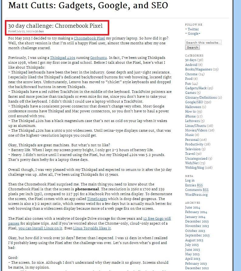 Matt Cutts Chromebook post