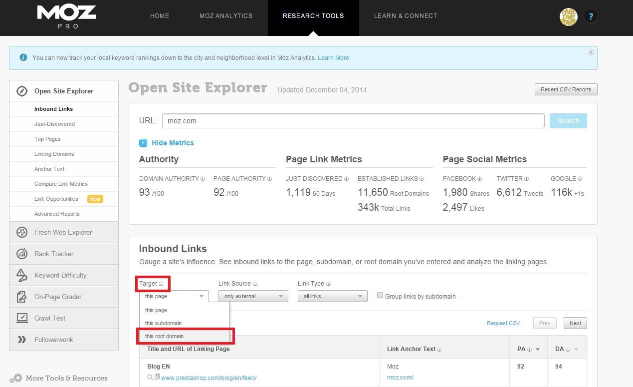 Open Site Explorer Root Domain