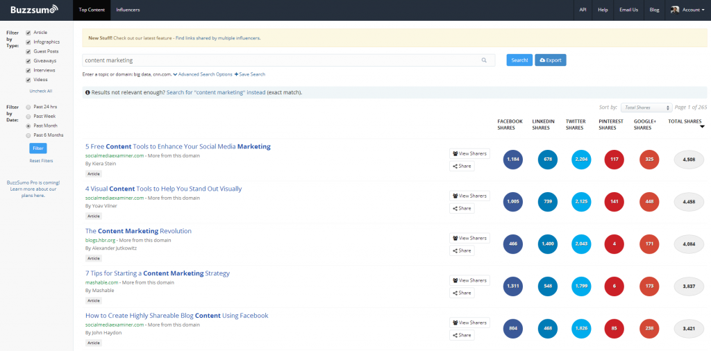 Content Marketing BuzzSumo