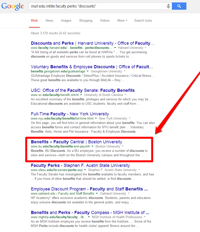 Employee Discounts SERP with Arrow