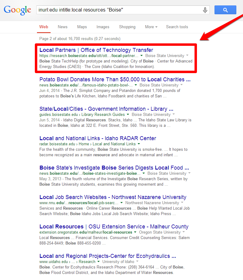 Local Resources SERP with Arrow