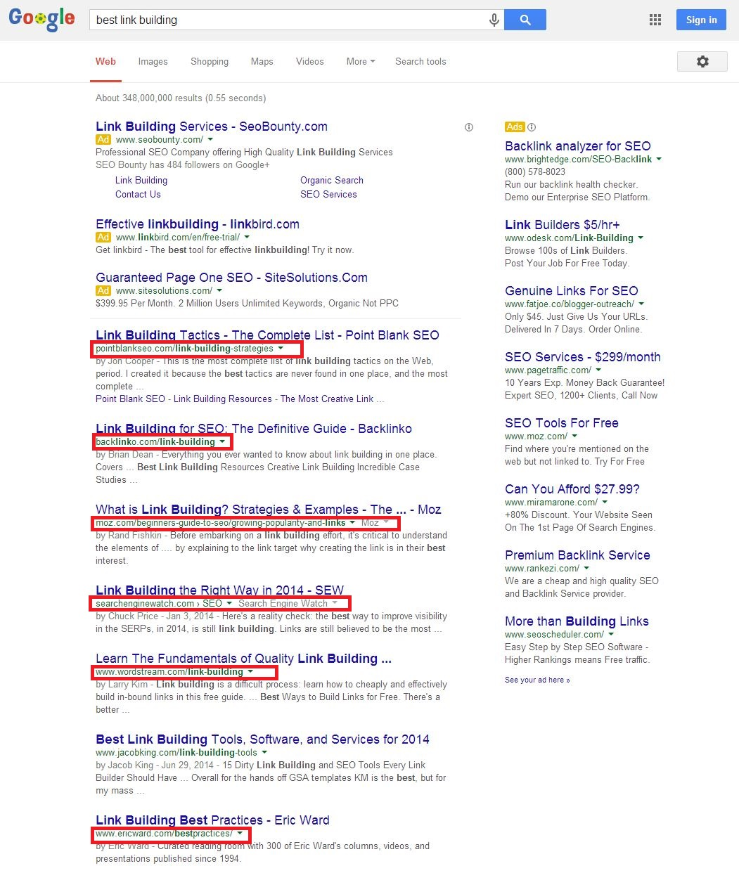 best link building SERP