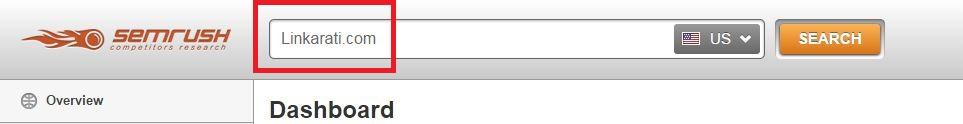 SEMrush dashboard domain bar