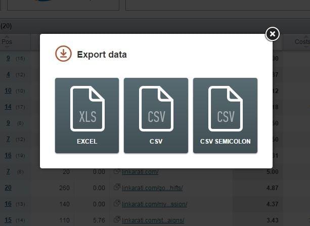 SEMrush export options