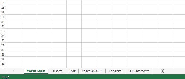 Excel master sheet