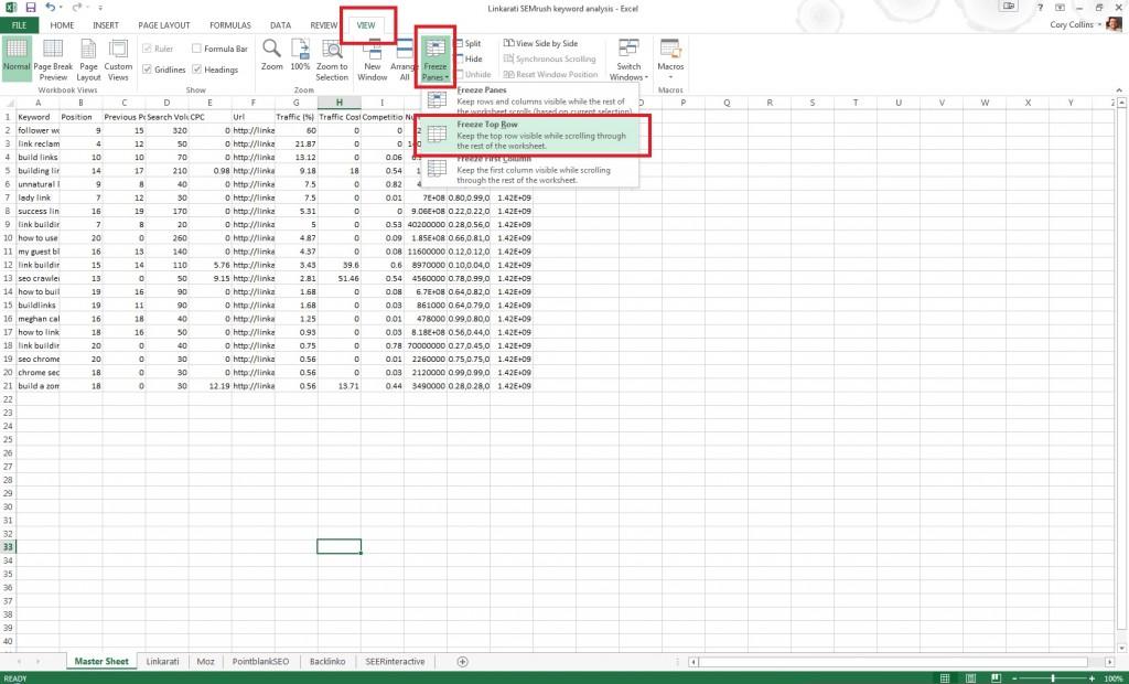 Excel freeze top row