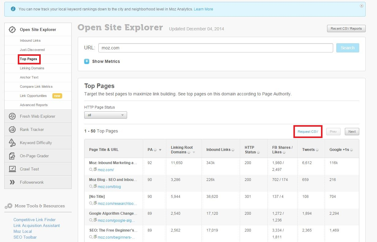 Open Site Explorer Top Pages