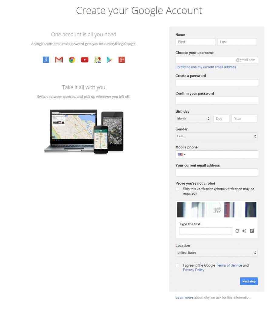Google Account Form