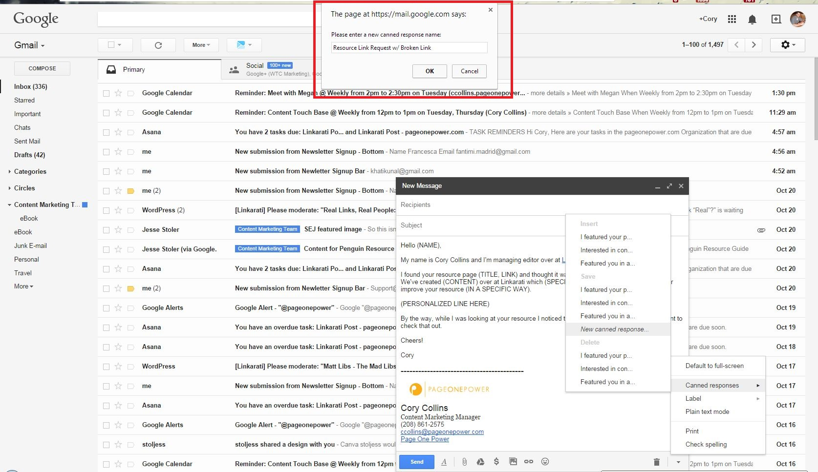using gmail canned responses for link building outreach tutorial