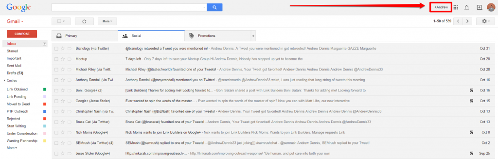 Top of Inbox with Arrow
