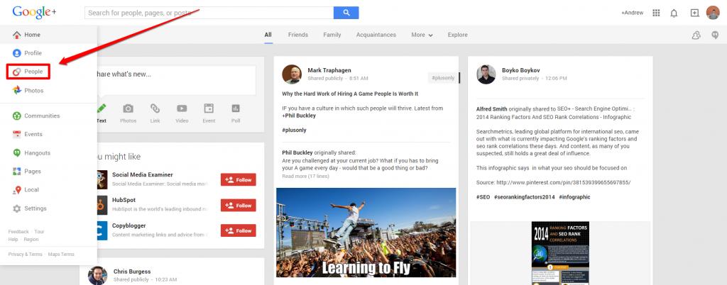 Google Plus Drop Down with Arrow