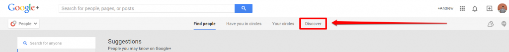 Google Plus Discover Tab with Arrow