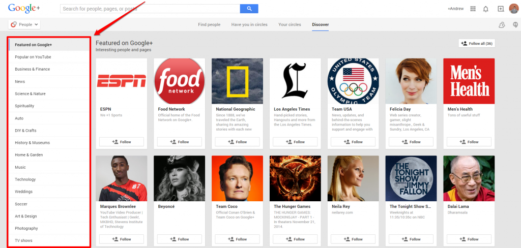 Google Plus Discover Page with Arrow