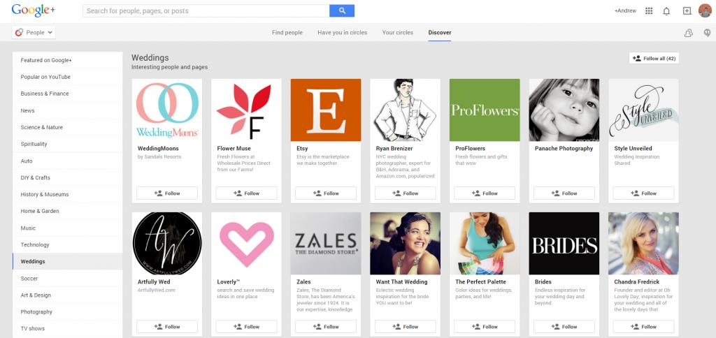 Google Plus Weddings Page