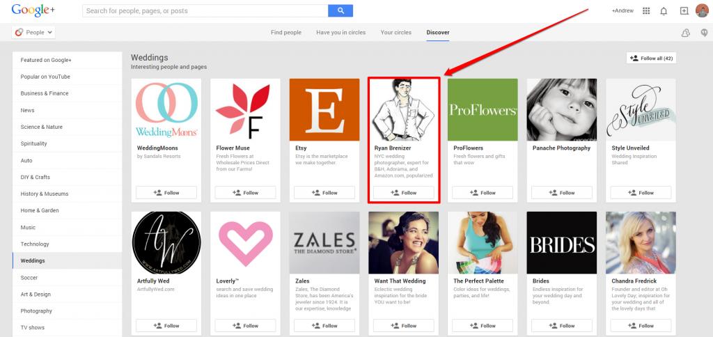 Google Plus Weddings Page with Arrow