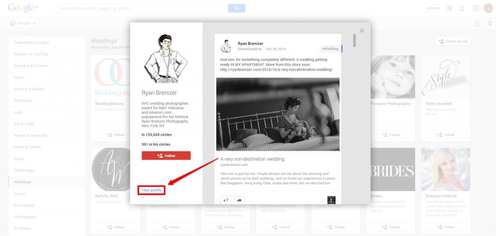 Google Plus Ryan Brenizer Overview with Arrow
