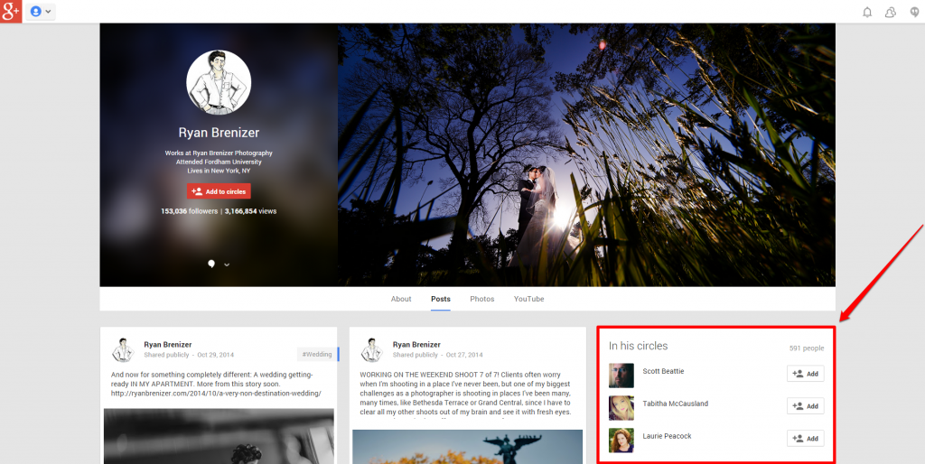 Google Plus Ryan Brenizer Profile Cap with Arrow
