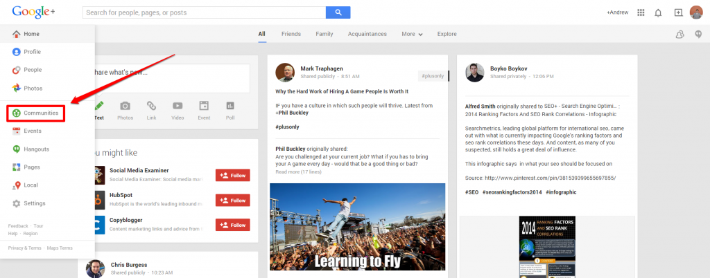 Google Plus Drop Down with Arrow Communities