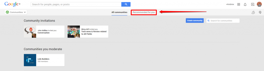 Google Plus Communities Page with Arrow