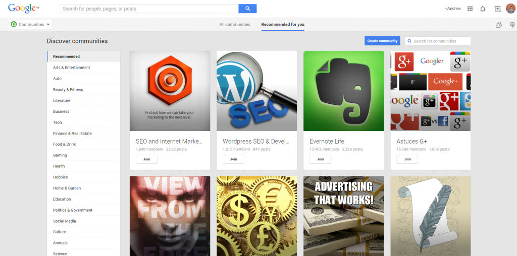 Google Plus Suggested Communities