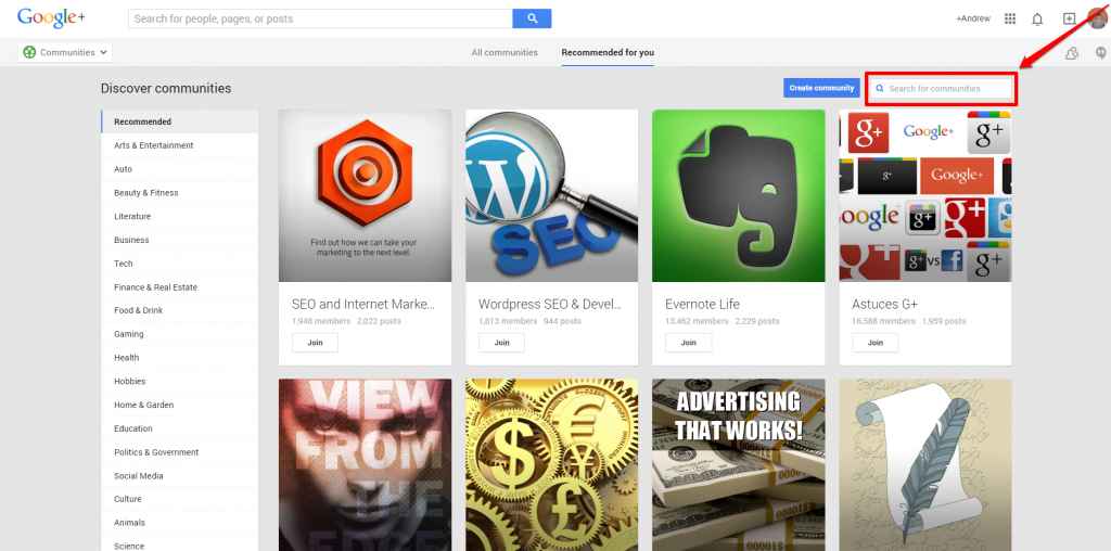 Google Plus Communities Search box with Arrow