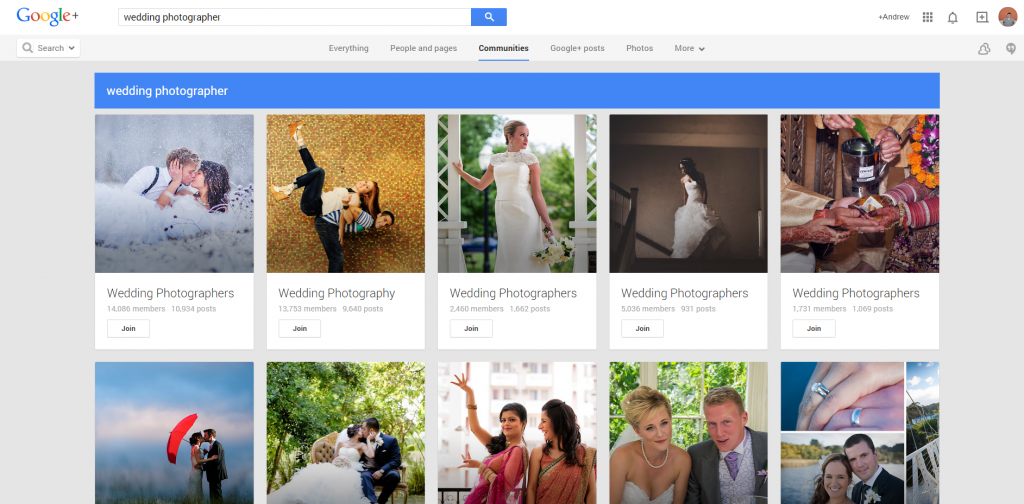 Google Plus Wedding Photog Results