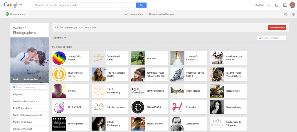 Google Plus Wedding Photog Community Members