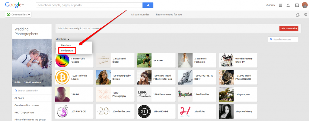 Google Plus Wedding Photog Community Members Drop Down with Arrow